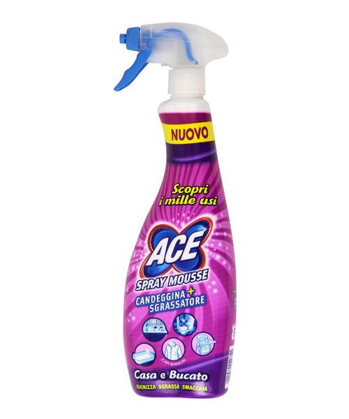 Ace Spray Mousse Candeggina+Sgrassatore, univerzální chlórový pěnový čistič 750 ml.