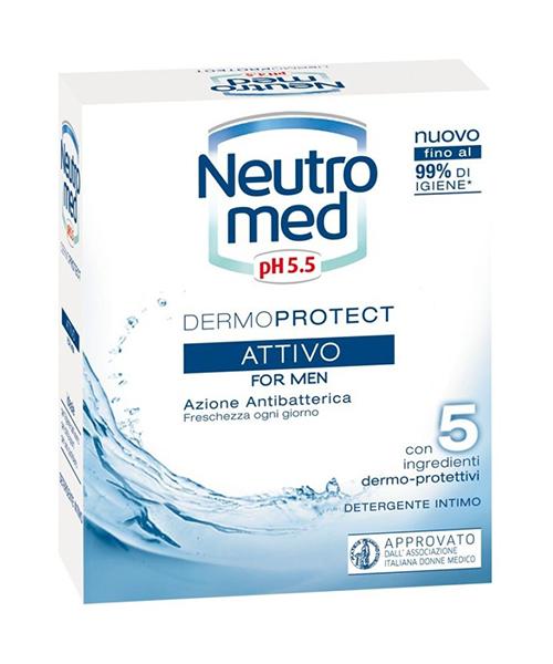 Neutromed pH 5,5 Attivo For Men, pánské intimní antibakteriální mýdlo 200 ml.