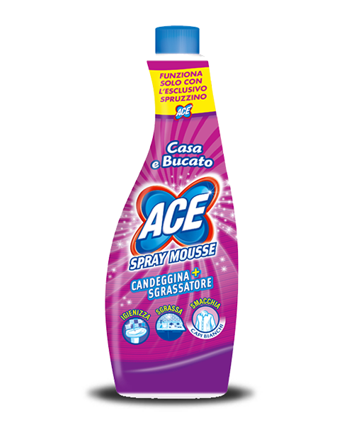 Ace Spray Mousse Candeggina+Sgrassatore, univerzální chlórový pěnový čistič 750 ml., náhradní náplň