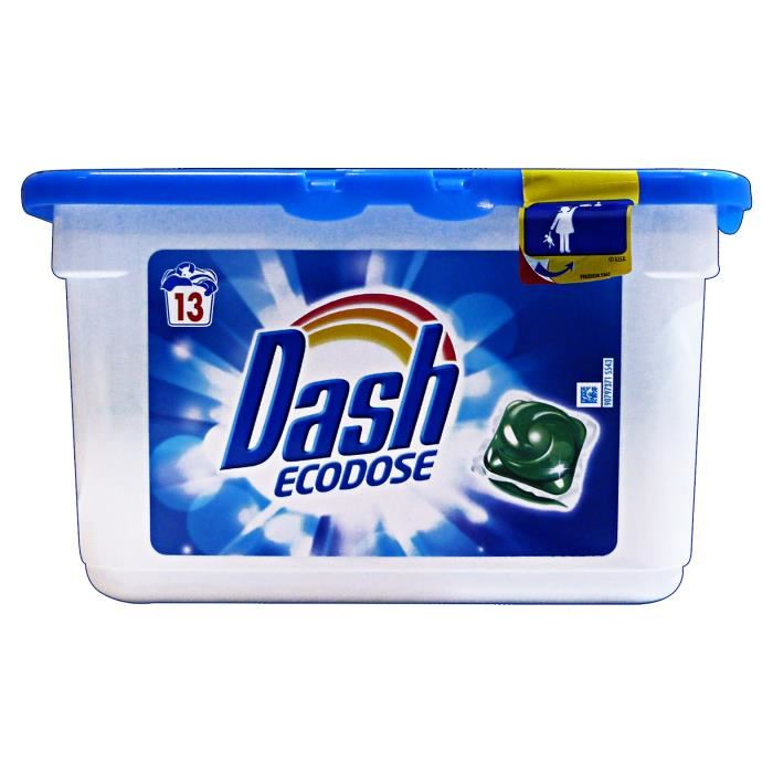 Dash Ecodose gelové kapsle na bílé a světlé prádlo 13 ks.