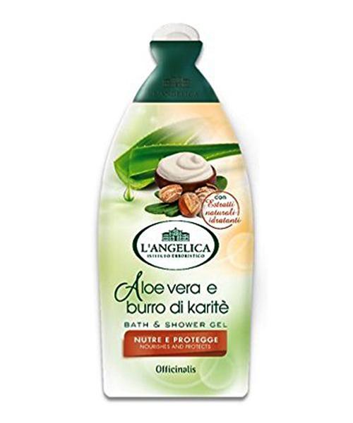 L´Angelica Officinalis Bagnodoccia Aloe vera e burro di Karité, výživná a ochranná sprchová pěna 500 ml.