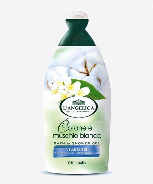 L´Angelica Officinalis Vellutante Cotone e Muschio Bianco, sametová sprchová pěna 500 ml.