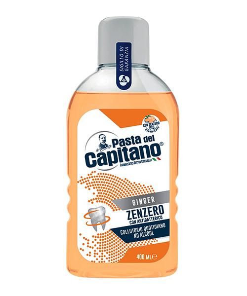 Pasta del Capitano Zenzero con Antibatterico, antibakteriální ústní voda s BIO zázvorem 400 ml.