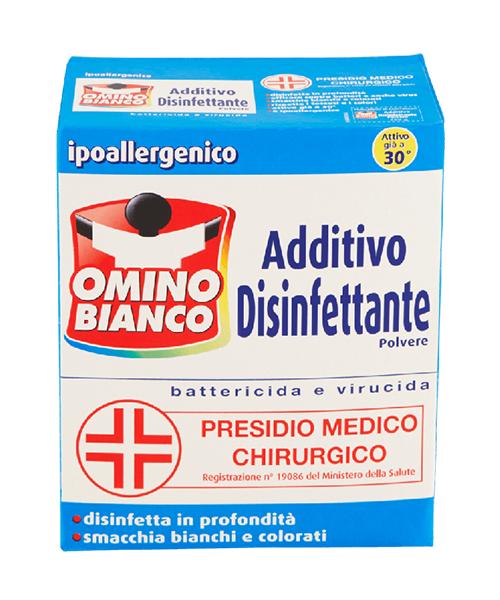 Omino Bianco Additivo Disinfettante, přídavný antibakteriální a dezinfekční prášek 450 g.