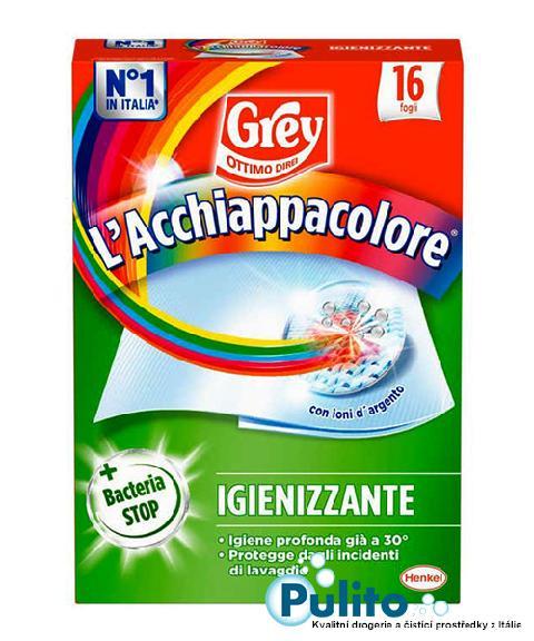 Grey L´Acchiappacolore Igienizzante, dezinfekční ubrousky proti zabarvení prádla 16 ks.