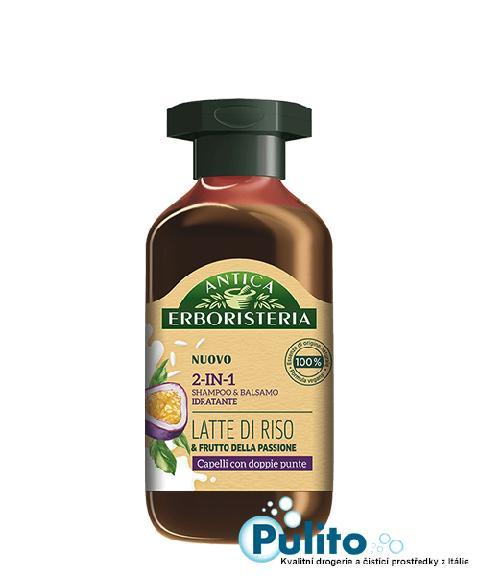 Antica Erboristeria 2-In-1 Latte di Riso/Frutto della Passione, přírodní šampon/balzám na vlasy na rozdvojené konečky 250 ml.