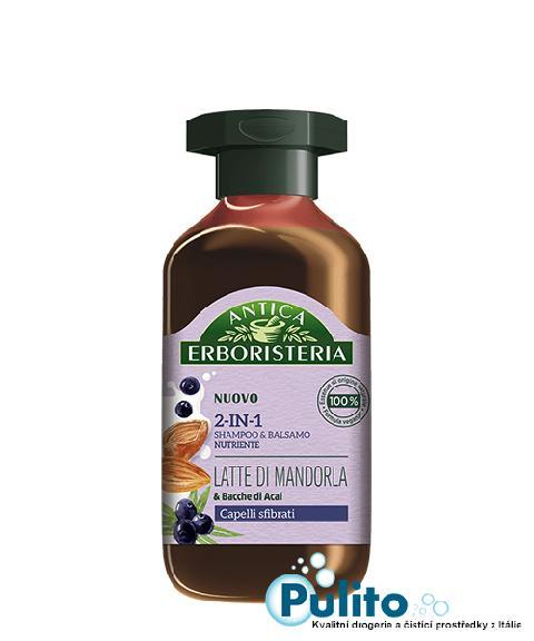 Antica Erboristeria 2-In-1 Latte di Mandorla & Bacche di Acai, přírodní šampon/balzám na poškozené a lámavé vlasy 250 ml.