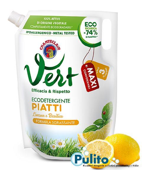 Chante Clair Vert Piatti, ekologický jar na nádobí citrón a bazalka 1500 ml., náhradní náplň