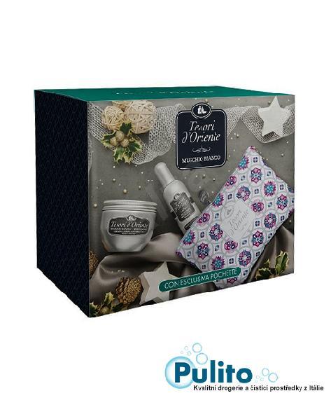 Tesori d´Oriente dárková kosmetická sada Muschio Bianco tělový krém 300 ml. + EDT 100 ml. + kosmetická taštička