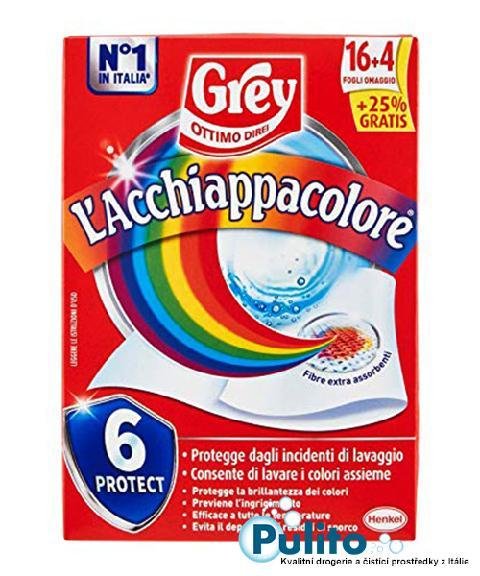 L´acchiappacolore Grey, ubrousky na praní proti zabarvení prádla 20 ks.