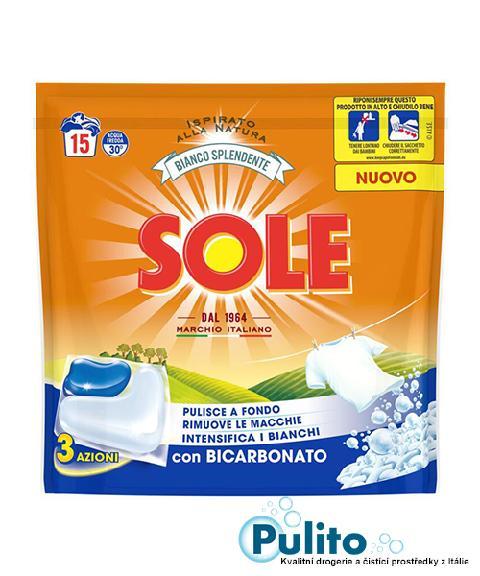 Sole Bianco Splendente con Bicarbonato, kapsle na praní 15 ks.