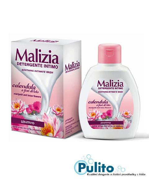 Malizia Intimo Lenitivo Calendula e Fiori di Loto, zklidňující intimní mýdlo 200 ml.