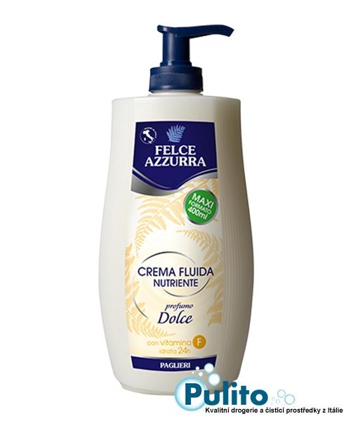 Felce Azzurra Crema Fluida Nutriente Dolce, výživné tělové mléko 400 ml.