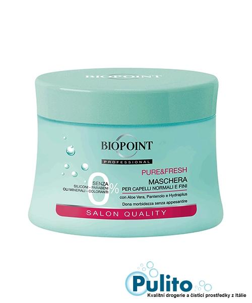 Biopoint Maschera Capelli normali e fini Pure&Fresh, vlasová maska pro normální a jemné vlasy 250 ml.