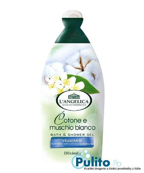 L´Angelica Officinalis Cotone e Muschio Bianco, sametový sprchový gel/koupelová pěna 500 ml.