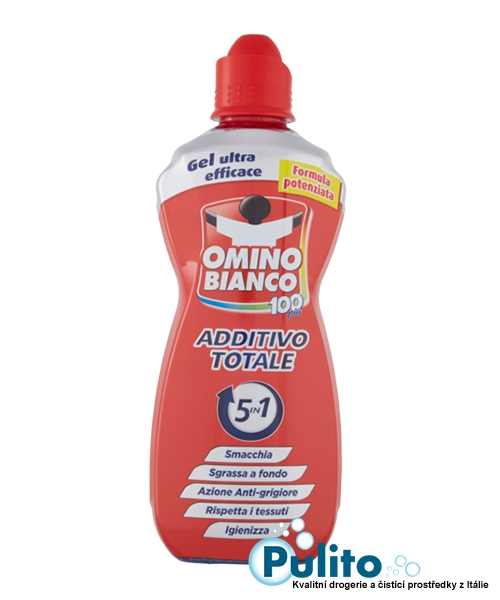 Omino Bianco Additivo Totale 5in1, odstraňovač skvrn a odmašťovač 900 ml.
