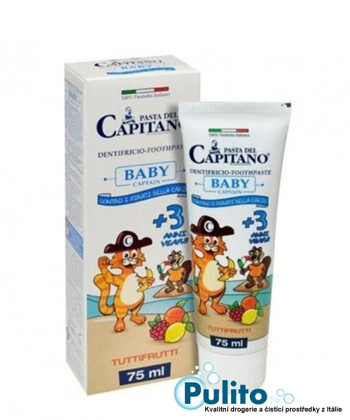 Pasta del Capitano Baby +3 Tutti Frutti, dětská zubní pasta od 3 let 75 ml.