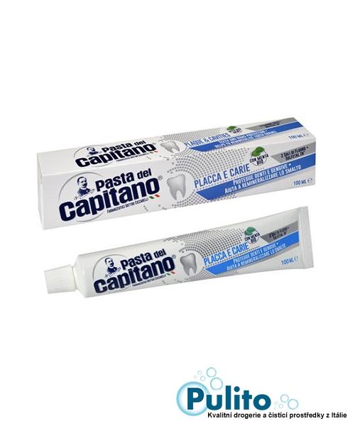 Pasta del Capitano Placca e Carie, zubní pasta proti zubnímu plaku a kazu s BIO mátou 75 ml.