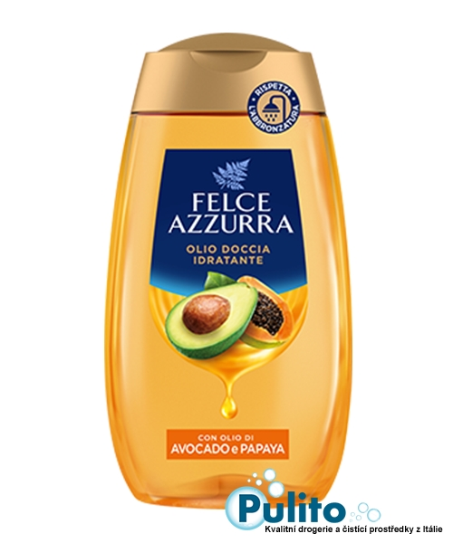 Felce Azzurra Olio Doccia Avocado e Papaya, sprchový olej 250 ml.