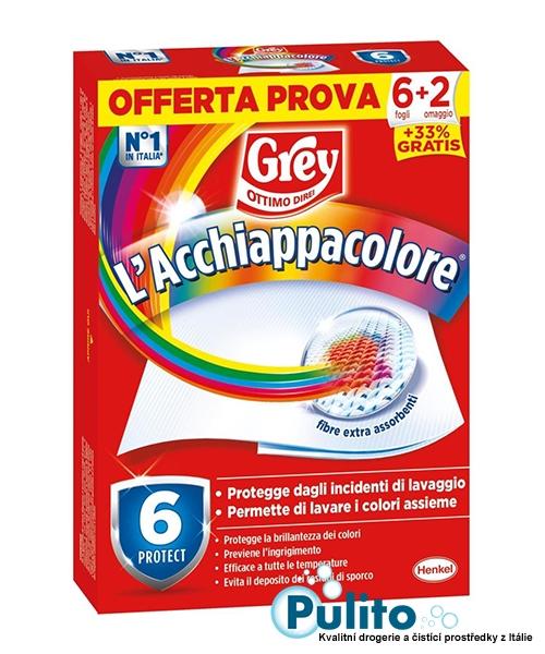 L´acchiappacolore Grey, ubrousky na praní proti zabarvení prádla 8 ks.